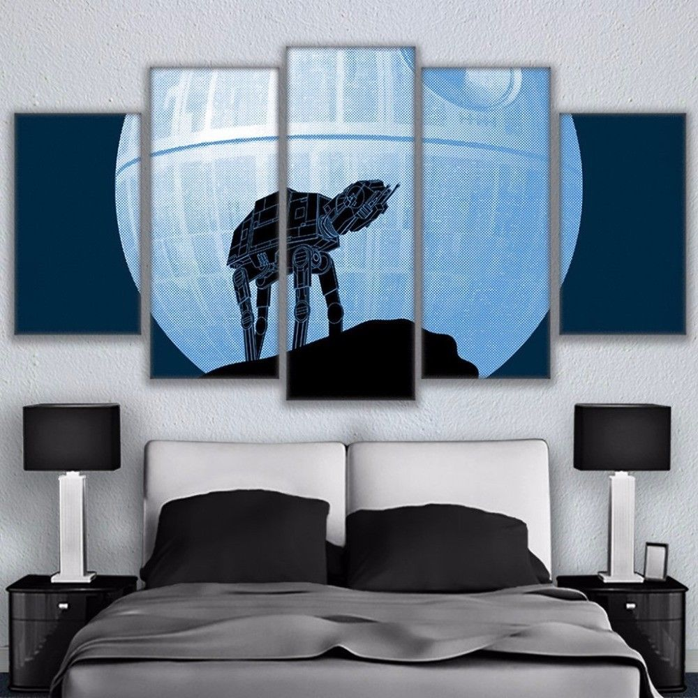 Large AT AT Star Wars Death Star Moon Canvas Home Decor Wall Art Five Piece for sale  USA