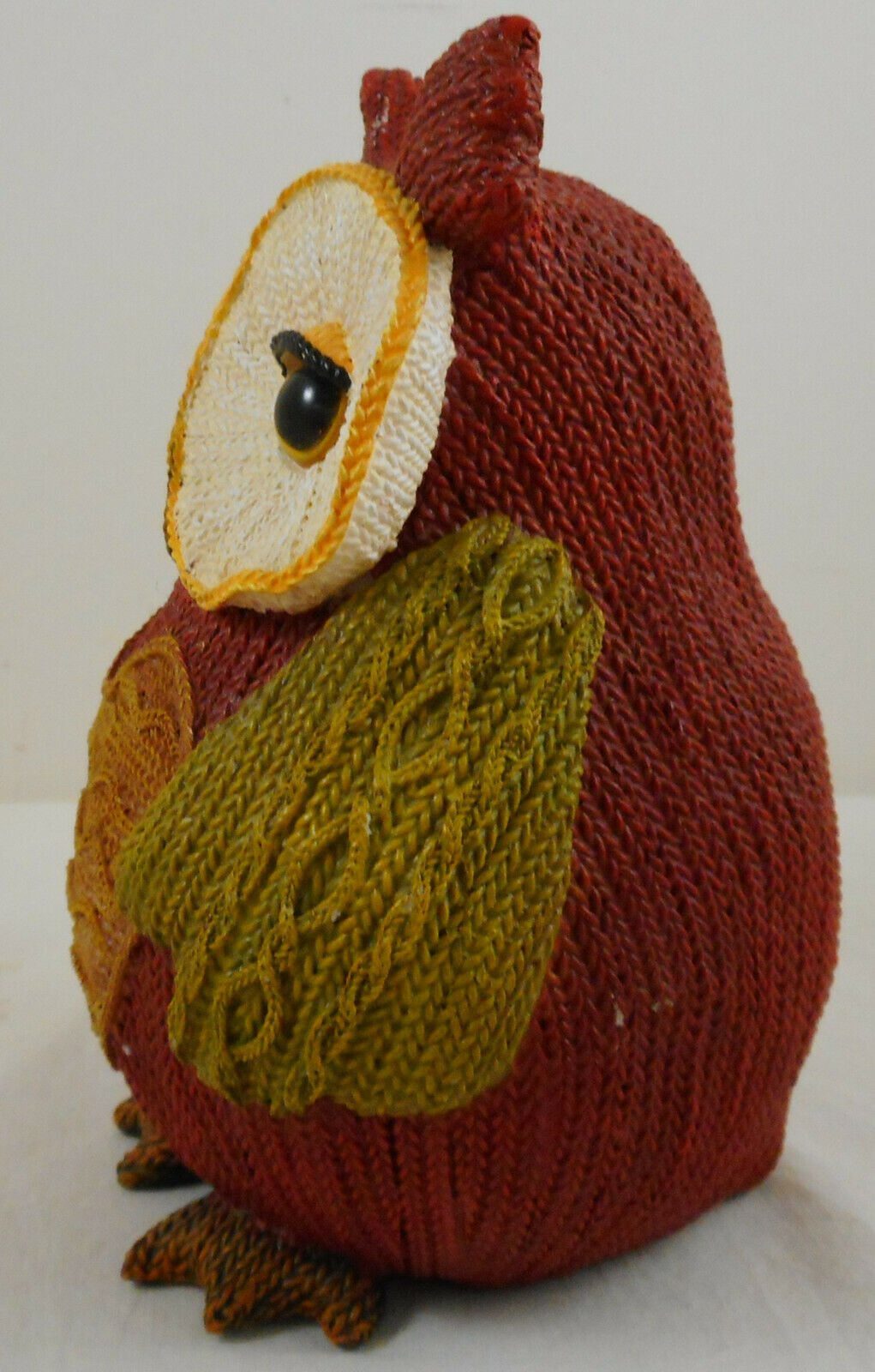 """Multi Color Resin Owl Knitted Look Knit Figurine 6"""" Fall Decoration Heart image 4"""