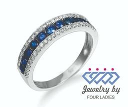 Blue Sapphire Gemstone 14K White Gold 0.64CT Diamond Stackable Band Fine... - $2,068.00