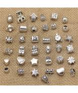 50Pcs Vintage Big Hole For Bracelets Charms Antique Silver Metal Mixed DIY - $9.99