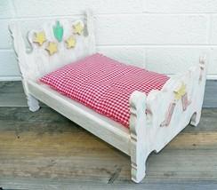 Small Wood Doll Bear Bed Southwest Design Saguaro Boots Stars 15.5 x 9.5... - $29.02