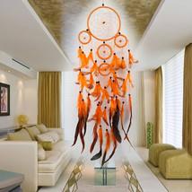 5 rings Orange Dream Catcher Handmade Dreamcatcher Net with Feather Wall... - $9.20