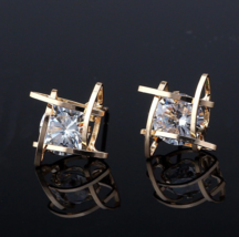 Premium European American Trinkets Square Zircon Stud Earrings Earring - $9.00