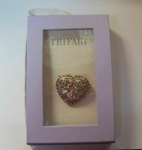 Trifari Multi-Color Rhinestones Heart & 2 Doves Brooch/Pin - $18.01