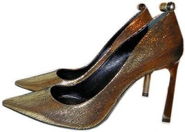 $980 Lanvin Classic Gold Metallic Pump Crystal Studded Heel Shoe 39- 8.5 - $388.00