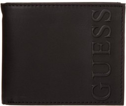 NEW GUESS MEN'S LEATHER CREDIT CARD ID WALLET PASSCASE BIFOLD BLACK 31GU22X002