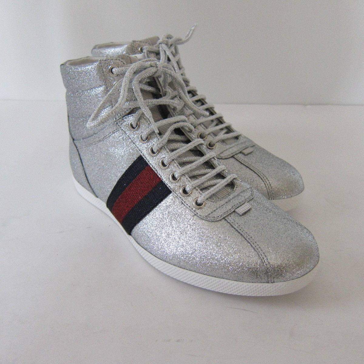 876328660 S l1600. S l1600. Previous. S-2134319 New Gucci Silver Glitter HiTop Sneakers  Shoes Size US 8.5 Marked 7.5