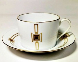 Haviland Limoges Cabochon Gold Flat Cup & Saucer Set - $51.47