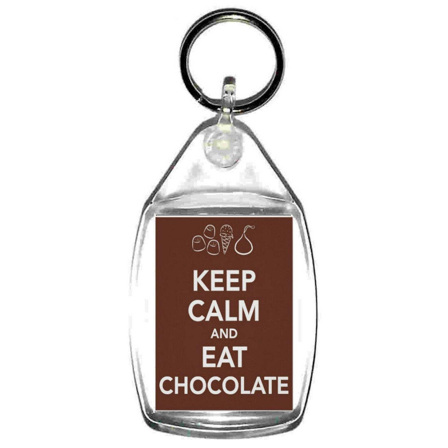 keyring double sided keep calm eat chocolate design, keychain
