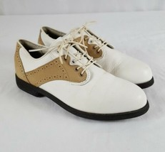 Rockport Golf Shoes Women Sz 8.5 Ivory Leather Brown Suede Jack Nicklaus... - $18.70