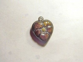 Vintage Sterling silver enameled puffy heart charm-NUTMEG BROWN  pansy - $24.00