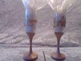 2pc. Gold Glittered Wedding Glasses Set - $29.01