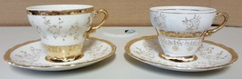 (I) Set of 2 Gold Tone Japan Demitasse Espresso Coffee Cups Sterling China - $5.93