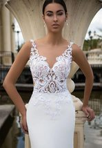 New Sexy Sleeveless Illusion Open Back Princess Mermaid Trumpet Wedding Dress image 5