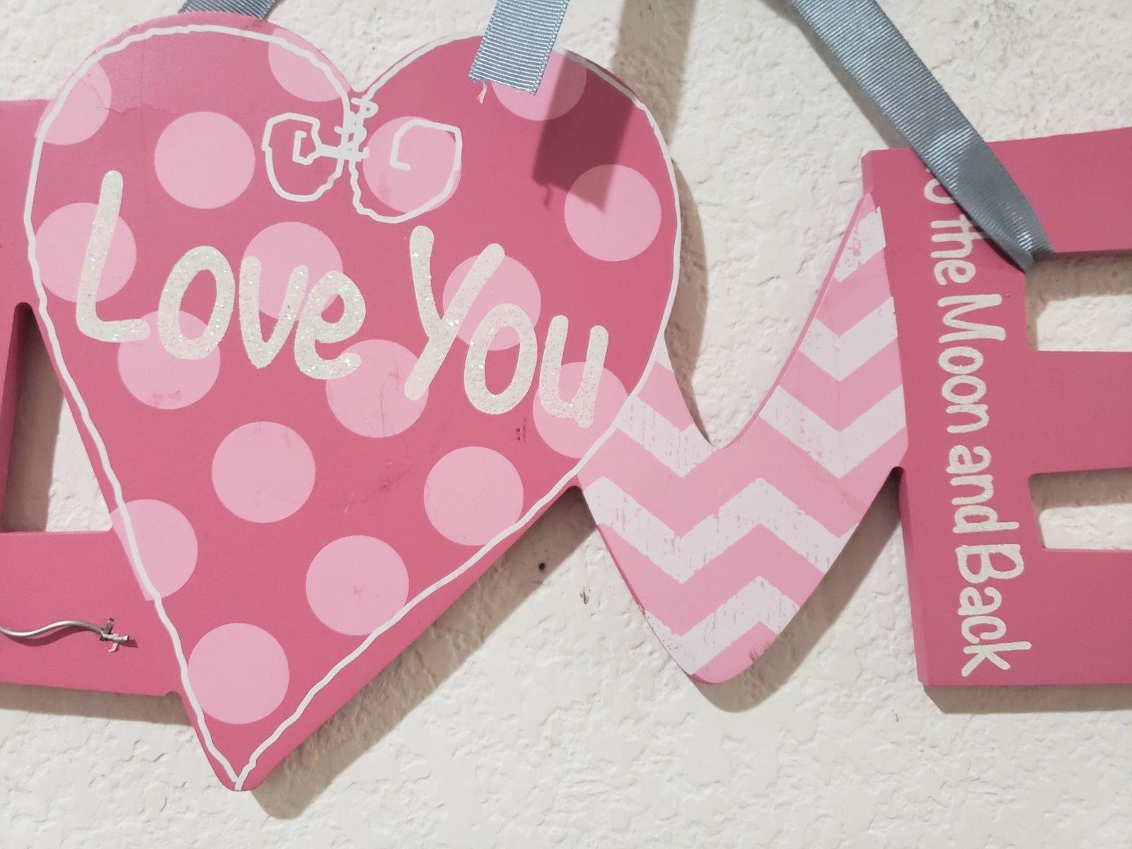 """Valentines Day Pink Glitter LOVE YOU Hanging Sign Decor Decoration 12.5"""""""