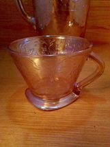 Vintage Carnival Glass 3 pc. Pitcher And Cup Set Antique Iridescent image 5
