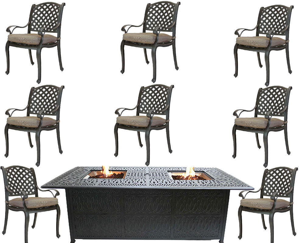Propane fire pit table cast aluminum patio furniture 9 for Outdoor furniture 9 piece
