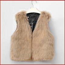 Beige Fox Hair Faux Fur Vest - Fun fashion furs worn w/ everything! image 2