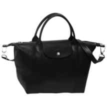 Longchamp Le Pliage Cuir Top Handle Hand Bag Small Size Black Auth - $350.00