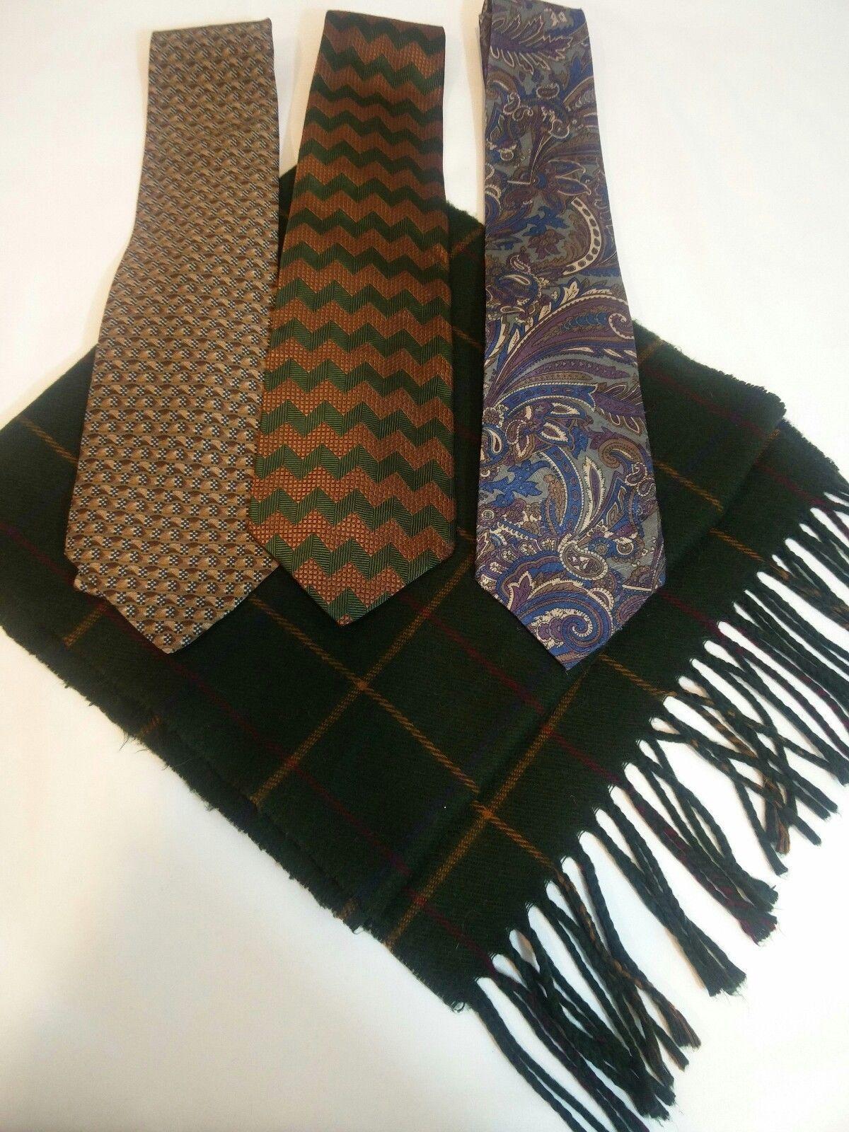 Geoffrey Beene Mens 3 Ties + CashMe Green Plaid Acrylic Scarf Handmade Silk Tie