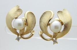 1950's Crown Trifari Faux Pearl Clear Rhinestone Leaf Flower Earrings - $44.55