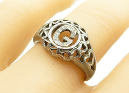 925 Sterling Silver - Vintage G Initial Love Heart Cutout Band Ring Sz 8... - $25.96