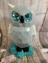 "VTG Hand-painted Glazed Tall Gray And Turquoise Heavy Ceramic Owl 11"" Tall - $16.83"