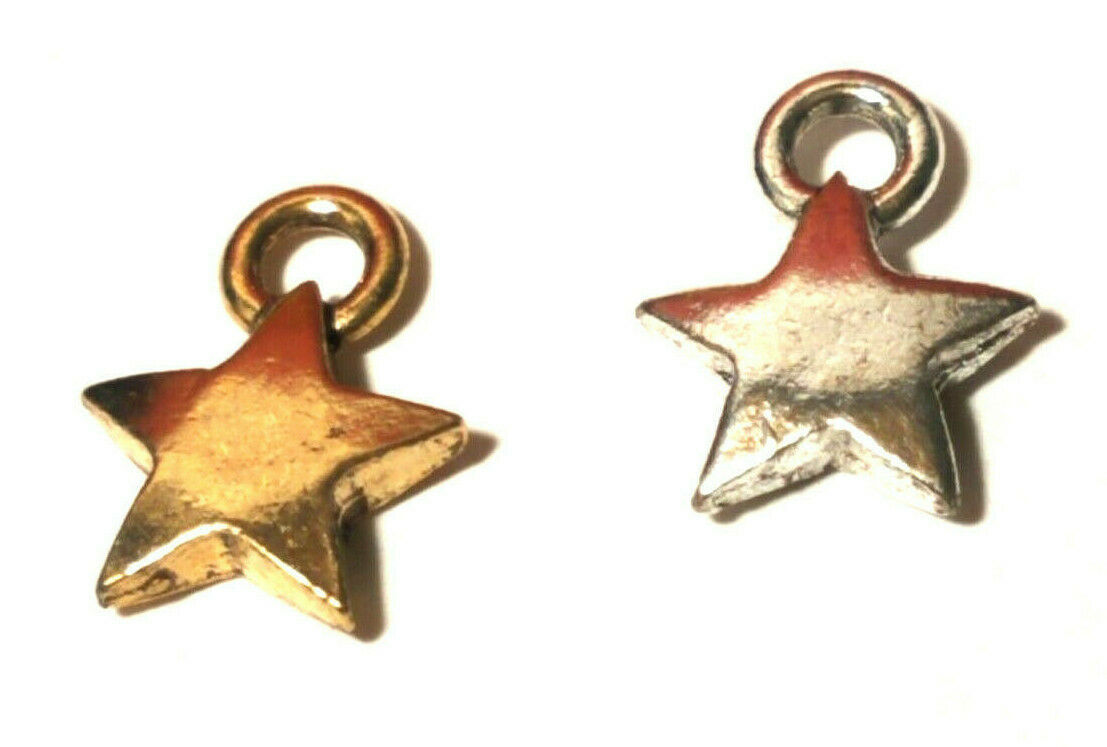 5 Point Star Fine Pewter Pendant Charm - 9x12x2mm