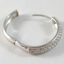 White Gold Earrings 750 18K Circle, Diameter 2 cm, Triple Row Zircon, 3 MM image 4