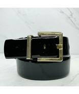 Morgan Taylor Black Vintage Wide Genuine Patent Leather Belt Size Medium... - $24.18