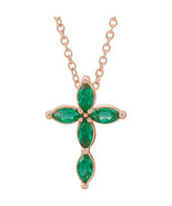 """Chatham® Created Marquise Emerald Cross 16-18"""" Necklace In 14K Rose Gold - $296.99"""