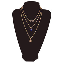 3 layers Gold Plated Simple Chain Eye Infinity Peace Symbol Multi Layer ... - $12.86