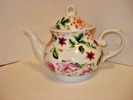 """Porcelain White Teapot with Rose Floral Design 3 Cup Size Tip-Tip 9"""" x 7... - $14.80"""