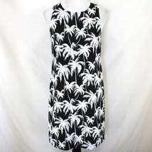 Vince Camuto Dress Womens 2 Black White Tropical Palm Tree Sleeveless Shift - £18.32 GBP