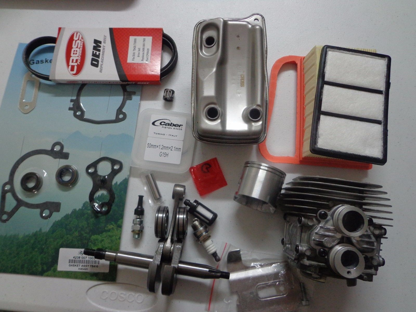 Cylinder kit For Stihl TS420 TS410 overhault gasket set air filter drive belt