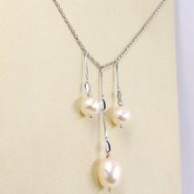 Halskette Weißgold 18k,3 Anhänger, Perlen Fischen, Tonde und Oval, Kette Rolo image 2