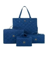JOY 4-piece Quilted Better Beauty Case Set w/ RFID Big Shopper Tote Navy - $54.44