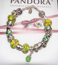 Authentic Pandora Sterling Silver Bracelet Yellow.Green Murano Pink Flowers - $93.49