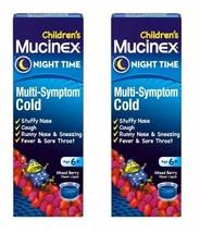 2 Mucinex Children's Multi-Symptom Night Time Cold Liquid Mixed Berry LO... - $7.86