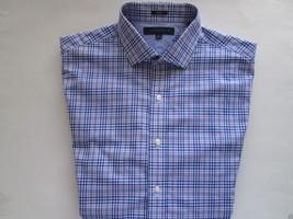TOMMY HILFIGER Slim Fit Spread Pinpoints Plaids Dress Shirt Blues 16   32-33 U38 - $28.25