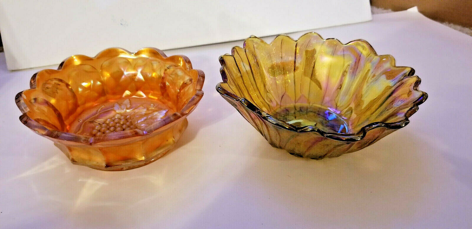 "GOLD IRIDESCENT PATTERN GLASS Bowl candy dish Sunflower BUTTON STAR 6"" Carnival"