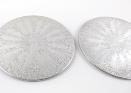 Lot of 2 Hot Pads Silver Finish on Wood Base 6 inch Stamped Garden Harve... - $14.43