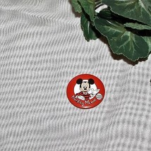 Mickey Mouse Club Vintage Pinback Button Pin Red Walt Disney World Collectible - $7.39