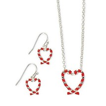 Avon Candy Cane Necklace & Earring Set - $9.99