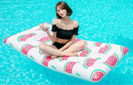 Adults Big Watermelon Inflatable Pool Raft Water Bed Hammock Ride On Float Tube image 5