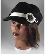 Women's Newsboy Cap Hat Black Wool w Black & White Baked Enamel Flower Pin - $29.45
