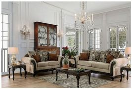 Sigtuna Traditional Style Sofa Set Upholstered in Tan Chenille Fabric - $1,668.00