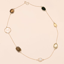 Sterling Silver Lemon Topaz Gemstone Long Chain Fashion Beaded Necklace Jewelry - $27.10