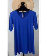 Eileen Fisher Womens Top Blue Large L Jersey Knit Scoop-Neck Tunic - $41.14