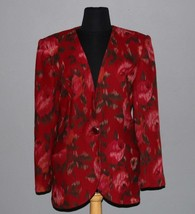 UNGARO Blurred Floral No Collar Wraparound Pockets Long Blazer Wms 8 NWT EXC - $39.99